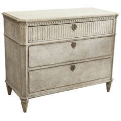 19th Century Painted Swedish Three-Drawer Commode