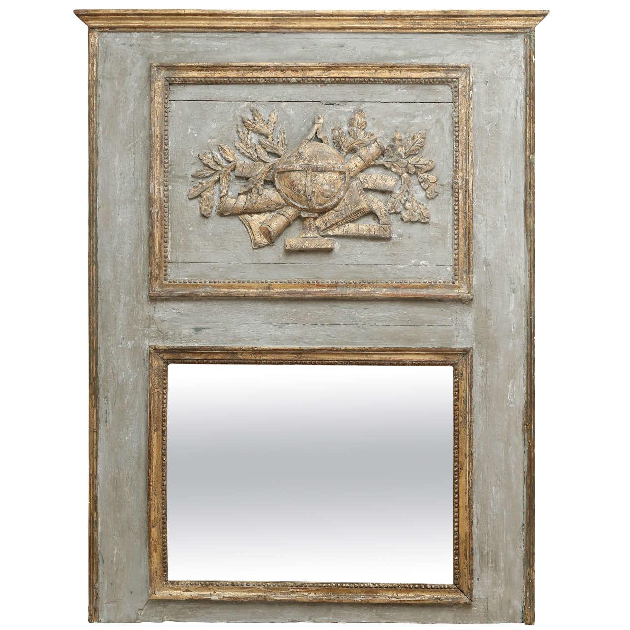 18th century painted trumeau mirror with bois dor detail for Miroir trumeau bois