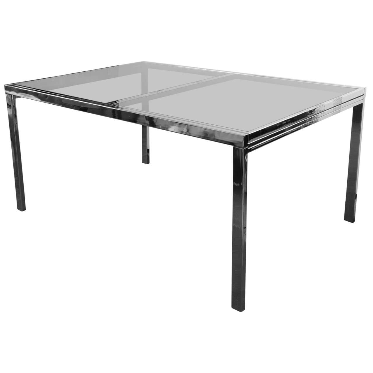 1970s American Extending Chrome Dining Table For Sale At