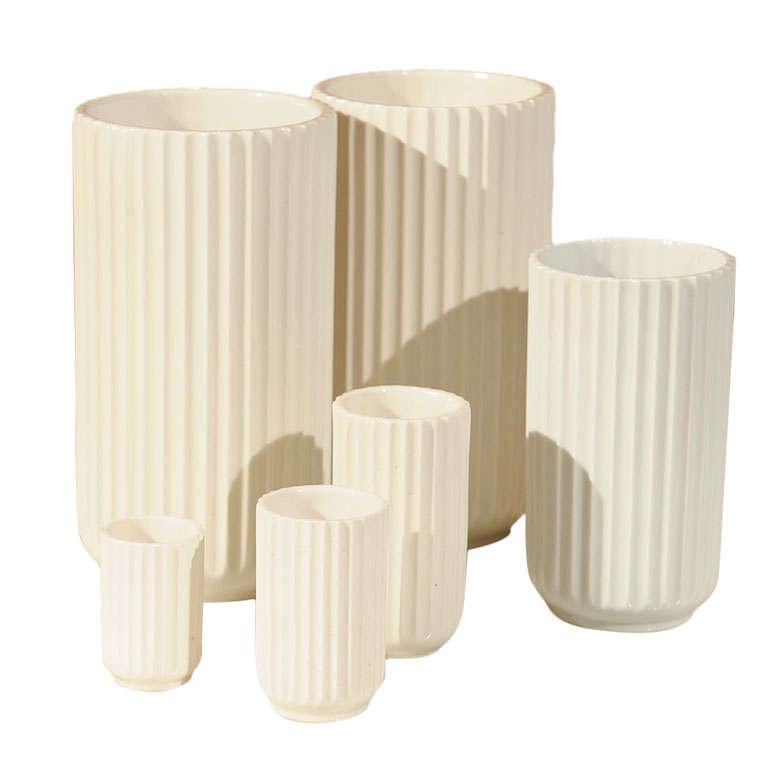lyngby porcelain set of six vases at 1stdibs. Black Bedroom Furniture Sets. Home Design Ideas