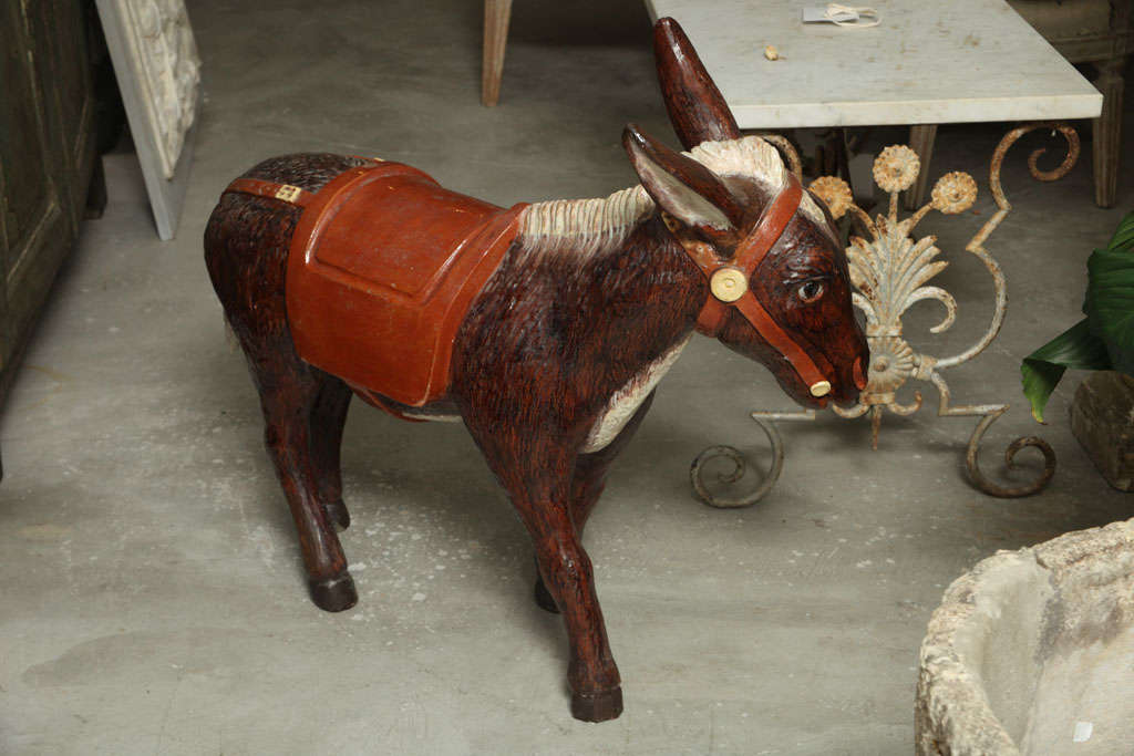 French Painted Ceramic Donkey For Sale