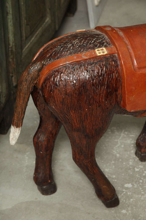 19th Century Painted Ceramic Donkey For Sale