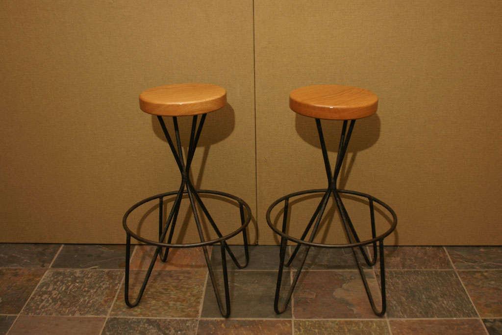 pair of wrought iron and wood bar stools at 1stdibs