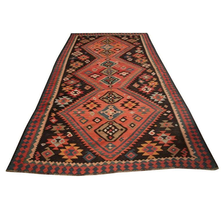 Caucasian Kilim Rug: Signed And Dated Antique Caucasian Kilim At 1stdibs