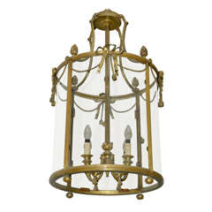 A 19th c. French Neoclassical gilt bronze electrified cylindrical hall lantern