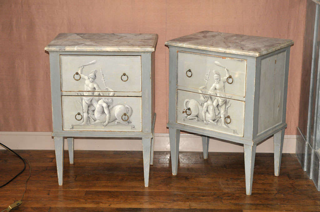 A pair of painted wooden night stands, late 19th C, French, with Faux marble top