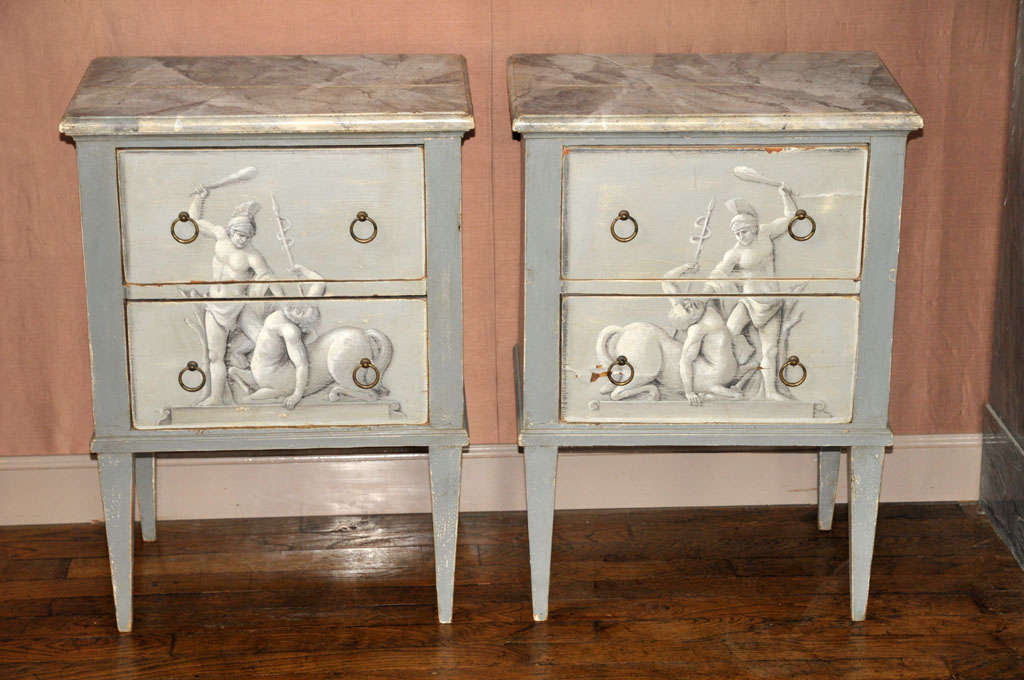 French A Pair Of Painted Wooden Night Stands For Sale