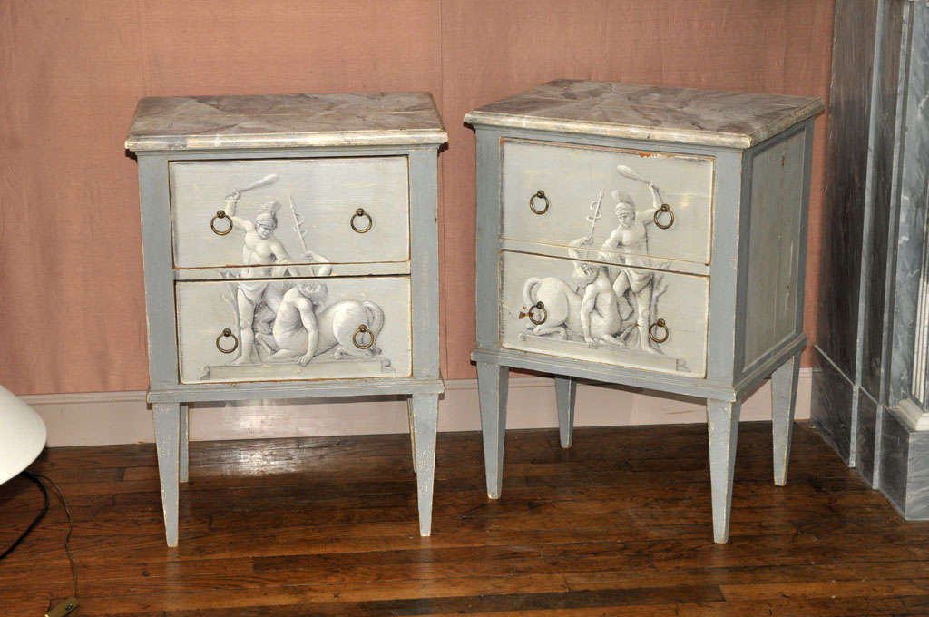 A Pair Of Painted Wooden Night Stands In Good Condition For Sale In Baambrugge, NL