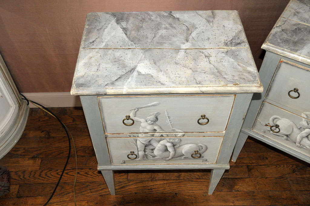 A Pair Of Painted Wooden Night Stands For Sale 1