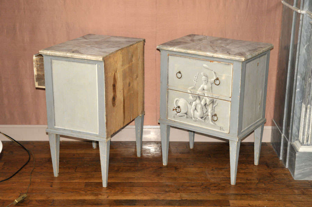 A Pair Of Painted Wooden Night Stands For Sale 3