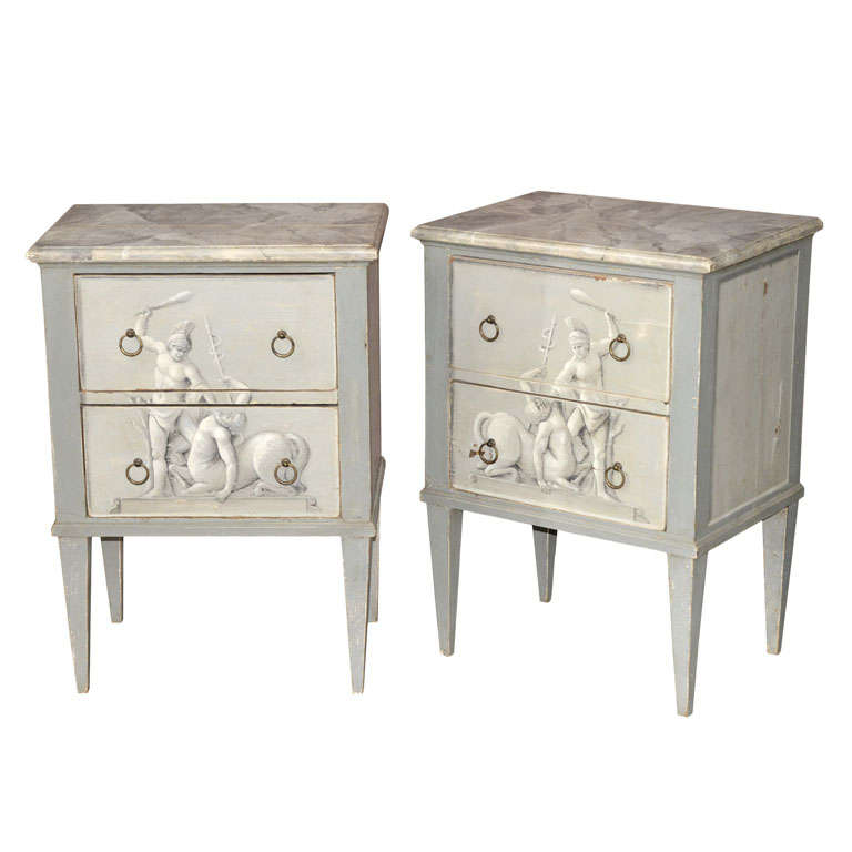 A Pair Of Painted Wooden Night Stands For Sale