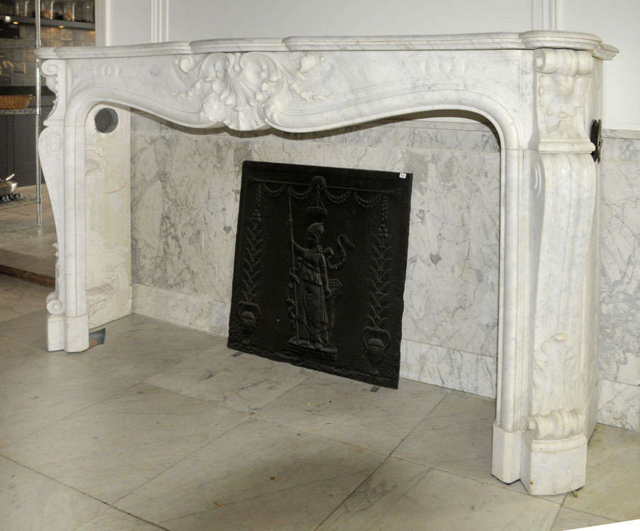 An early 19th century french rococo carrara marble fireplace mantel piece for sale at 1stdibs - Fireplace mantel piece ...