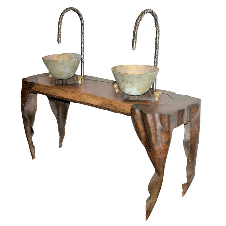 A wrought iron and oak double washing stand at 1stdibs for Wrought iron bathroom furniture