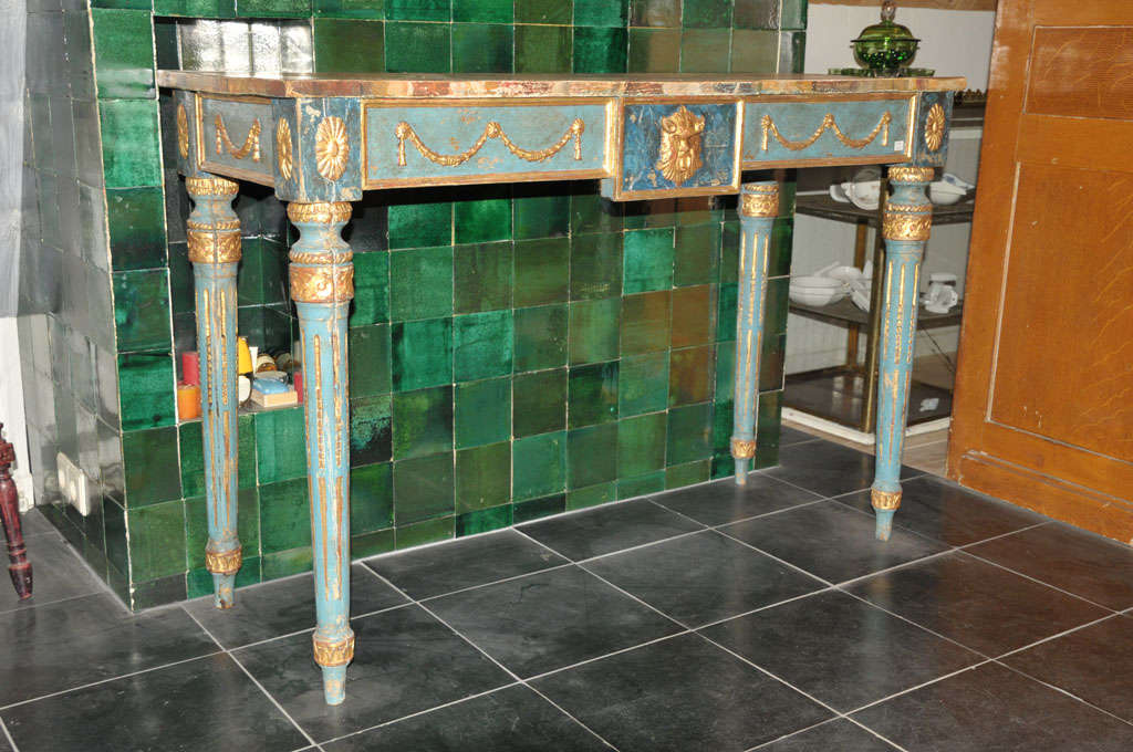 A decoartive century Italian painted console table with faux marble top in Neoclassical style, 20th century