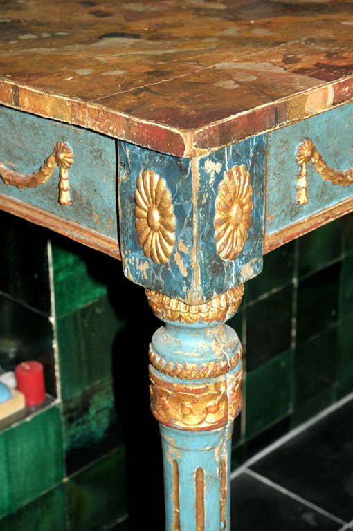 Wood A decorative Italian Neoclassical painted console table with faux marble top For Sale