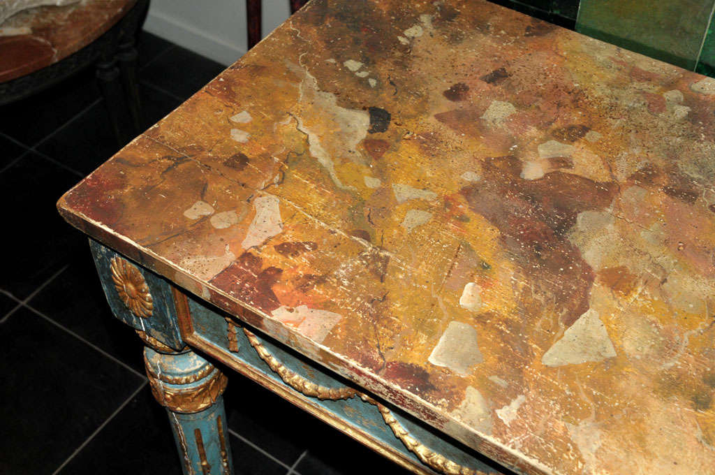 A decorative Italian Neoclassical painted console table with faux marble top For Sale 2