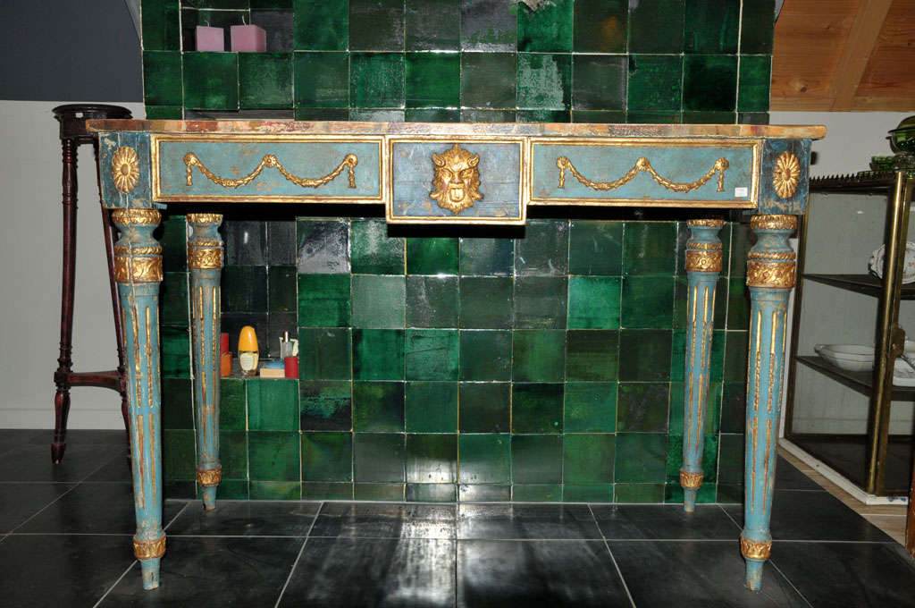 A decorative Italian Neoclassical painted console table with faux marble top For Sale 3
