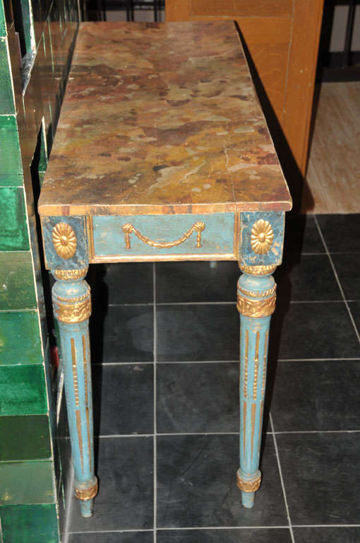 A decorative Italian Neoclassical painted console table with faux marble top For Sale 4
