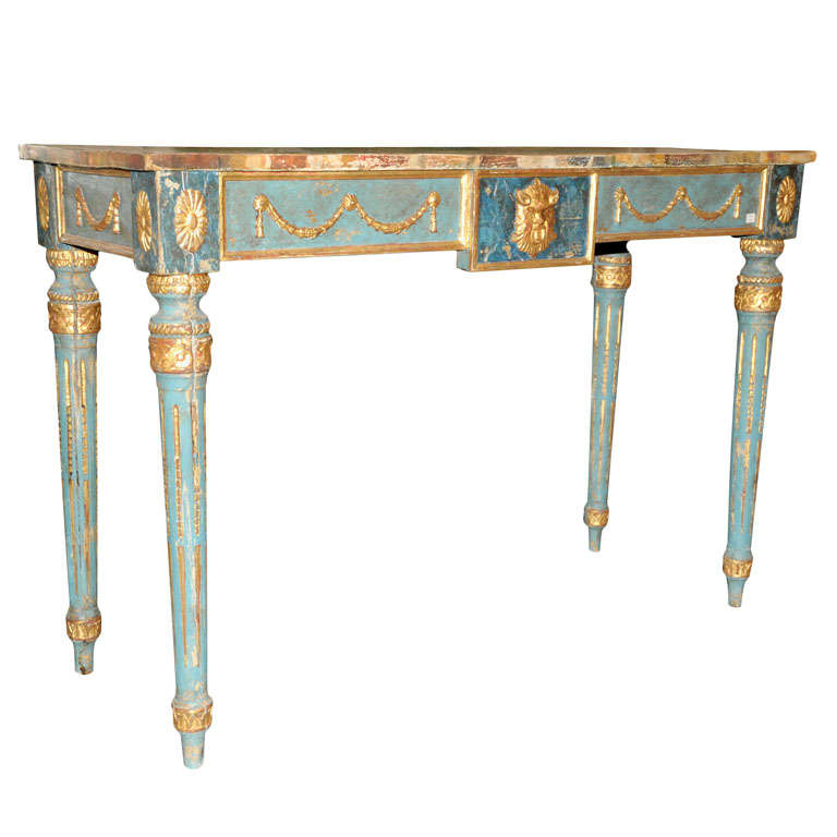 A Decorative Italian Neoclassical Painted Console Table With Faux Marble  Top For Sale
