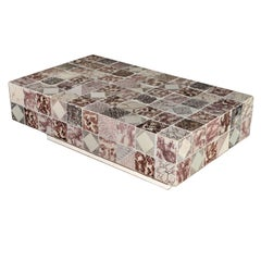 A coffee table made of 124 18th century Dutch tiles