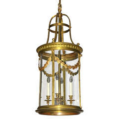 A large 19th century French Neoclassical gilt bronze cylindrical hall lantern
