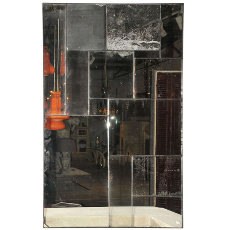 a mirror made of 14 pieces of antique mirror glass for sale at 1stdibs. Black Bedroom Furniture Sets. Home Design Ideas