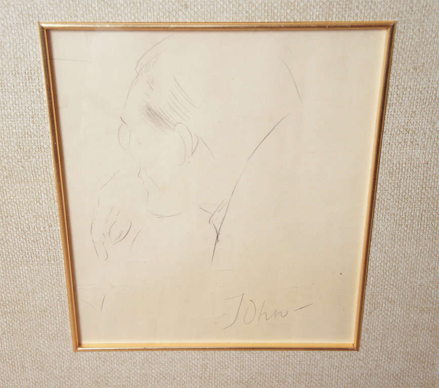 This small pencil sketch of a man in three-quarter profile signed