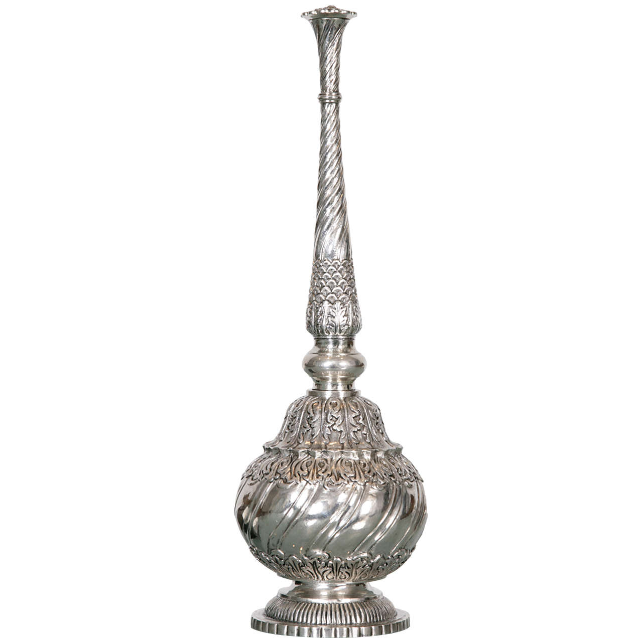 Repouse and engraved silver rosewater sprinkler at stdibs