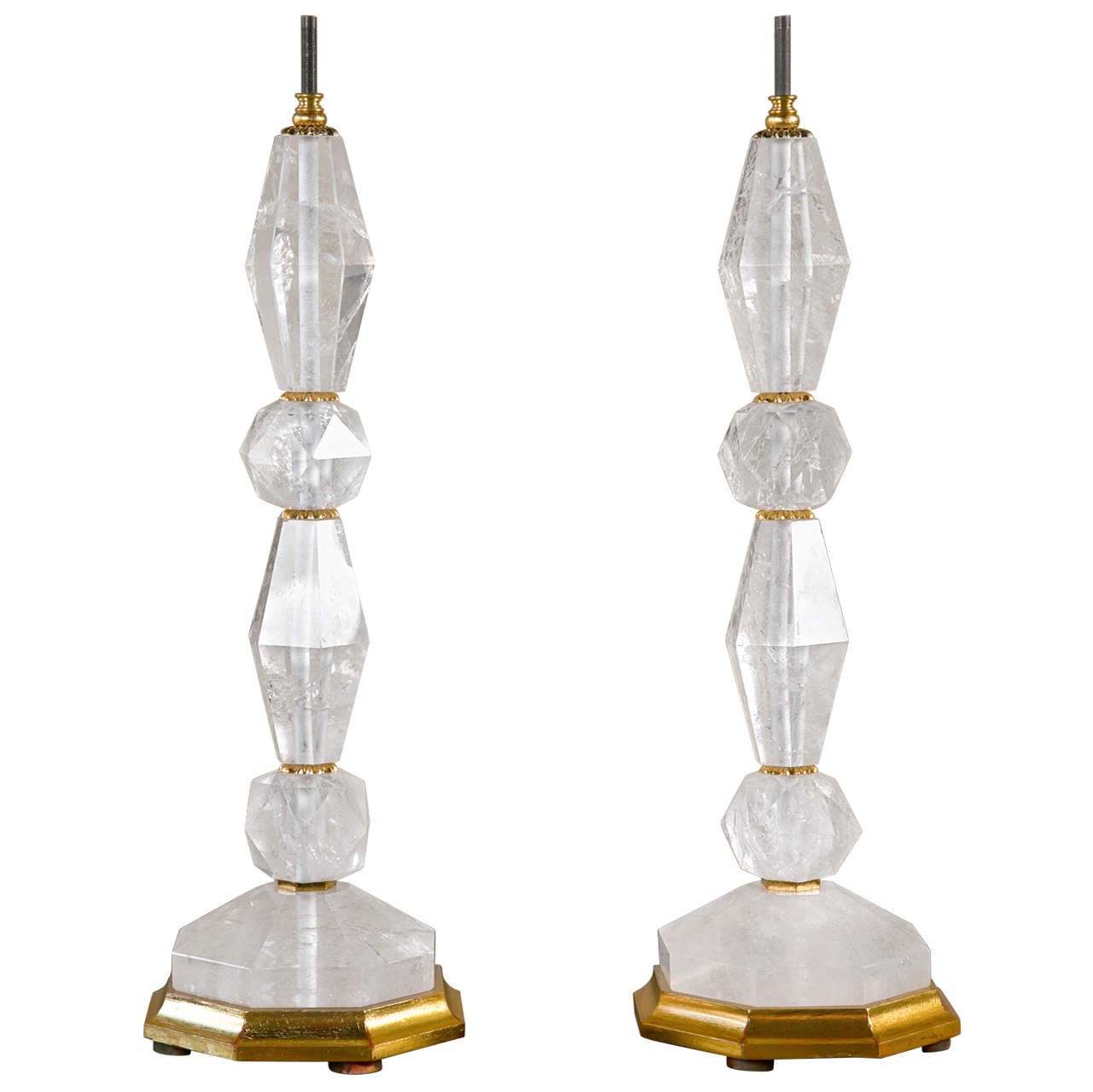 Pair of rock crystal table lamp bases at 1stdibs for Rock lamp