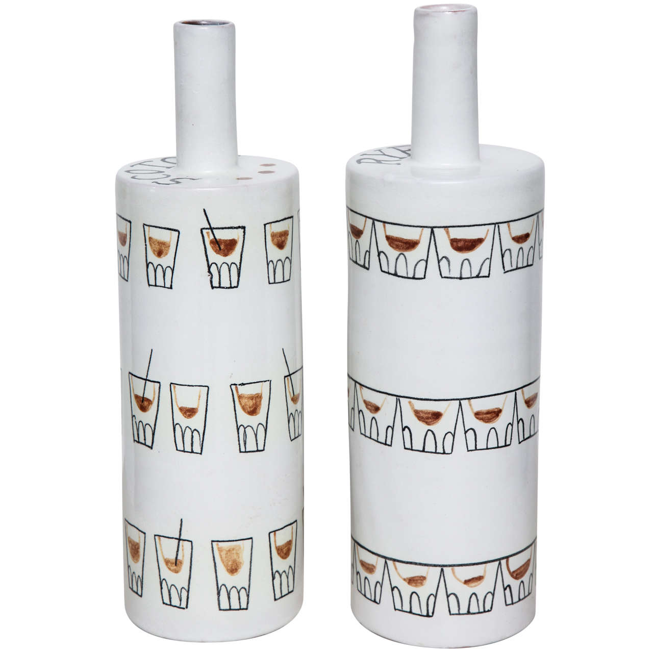 "Pair of ""Cocktail"" Ceramic Bottle Vases by Raymor"