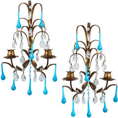 Pair of Italian Gilt & Turquoise Glass Sconces