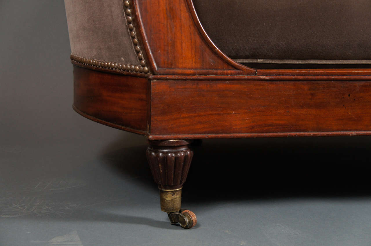 Brown velvet chaise at 1stdibs for Brown leather chaise longue