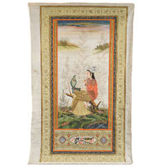 Indian Painting of Woman on Silk
