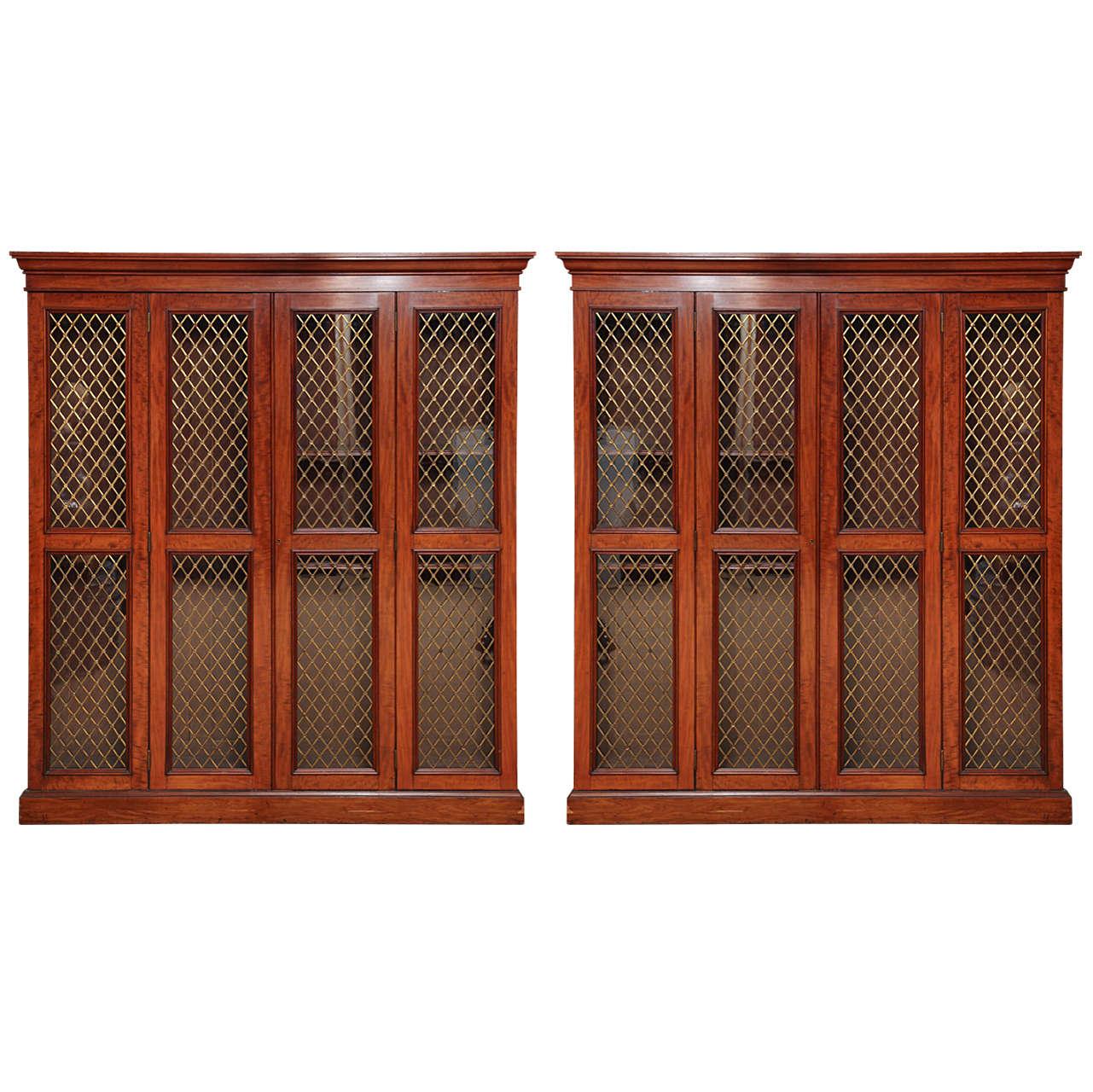 Pair of 19th Century Scottish, Four Door, Grillwork Bookcases