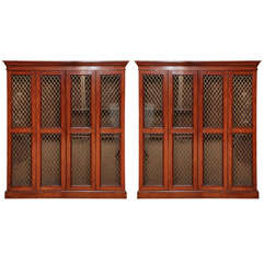 Pair of 19th Century Scottish, Four Door, Grillwork Bookcases