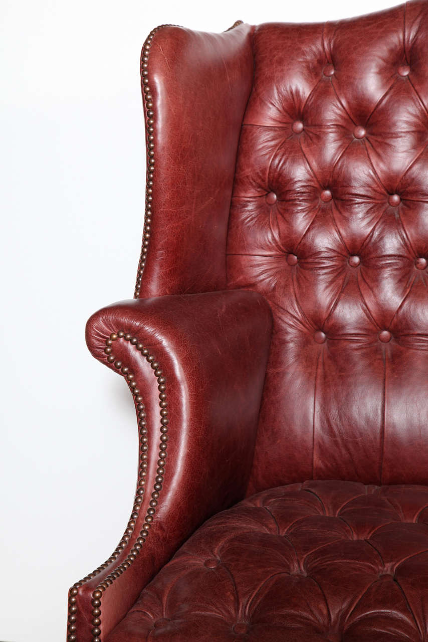 19th century english mahogany and tufted leather wing chair 3