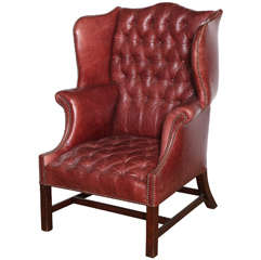 19th Century English, Mahogany and Tufted Leather Wing Chair
