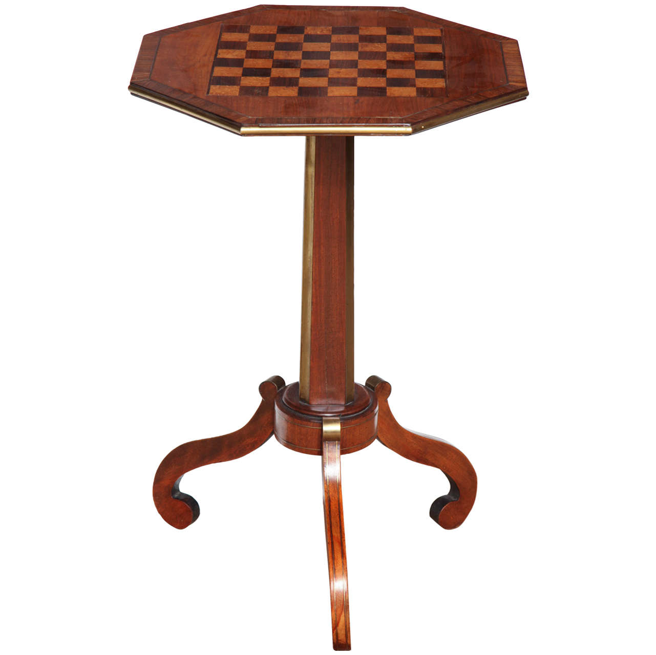 19th Century English,Fruitwood and Brass, Checkerboard Top Table