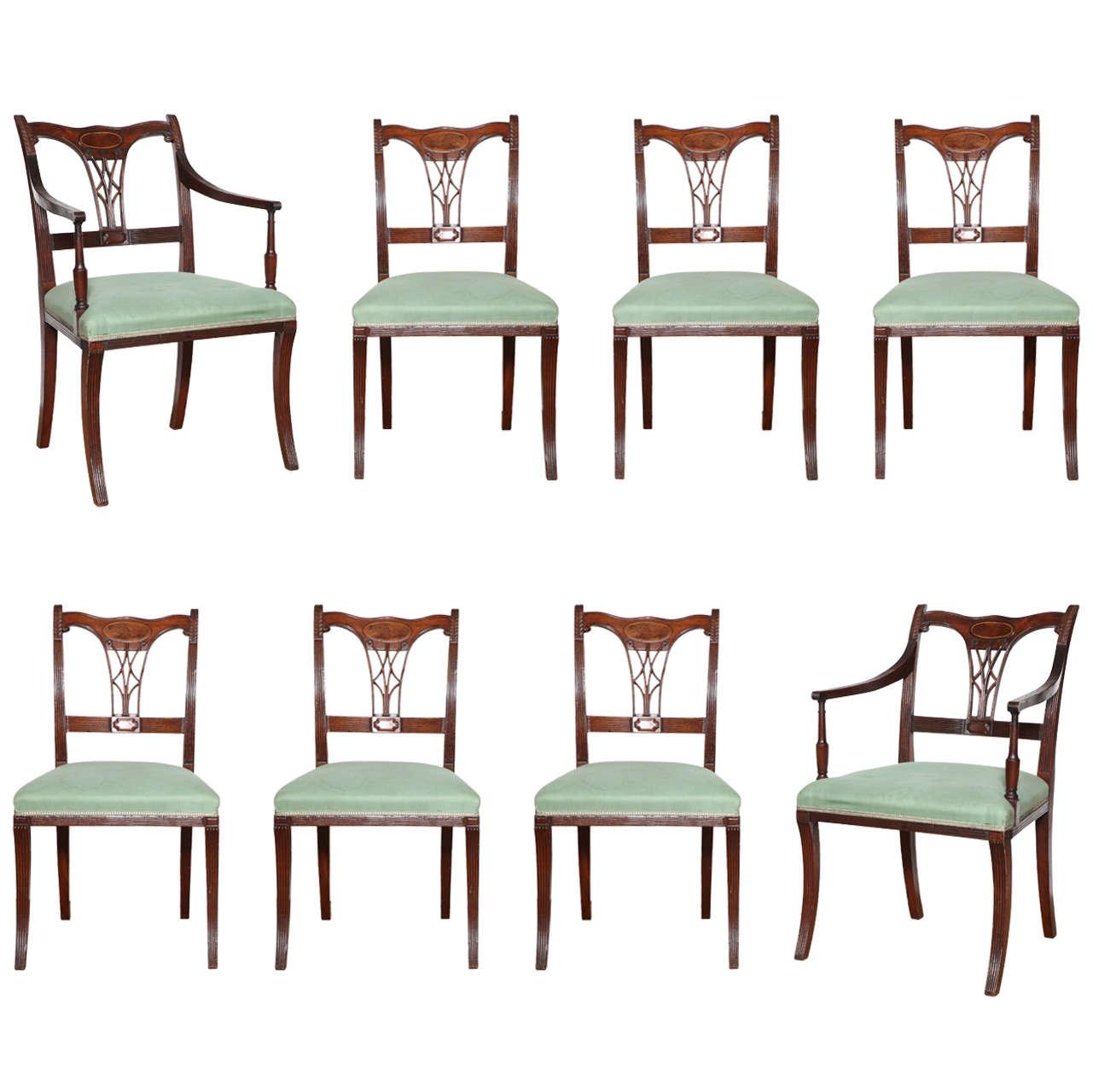 Set of Eight Early 19th Century Irish Regency Mahogany Dining Chairs