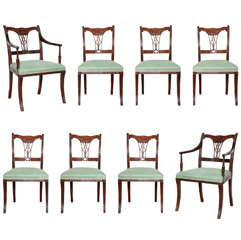 Set of Eight Early 19th Century Irish Regency Mahogany Dining Chairs