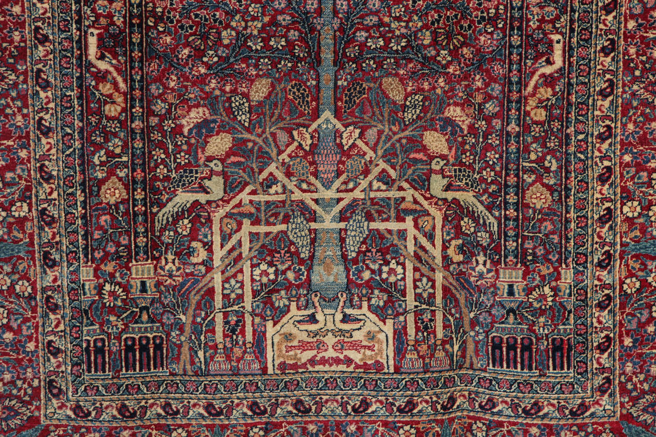 Hand-Knotted Persian Tehran Carpet with Tree of Life Design, circa 1900 For Sale