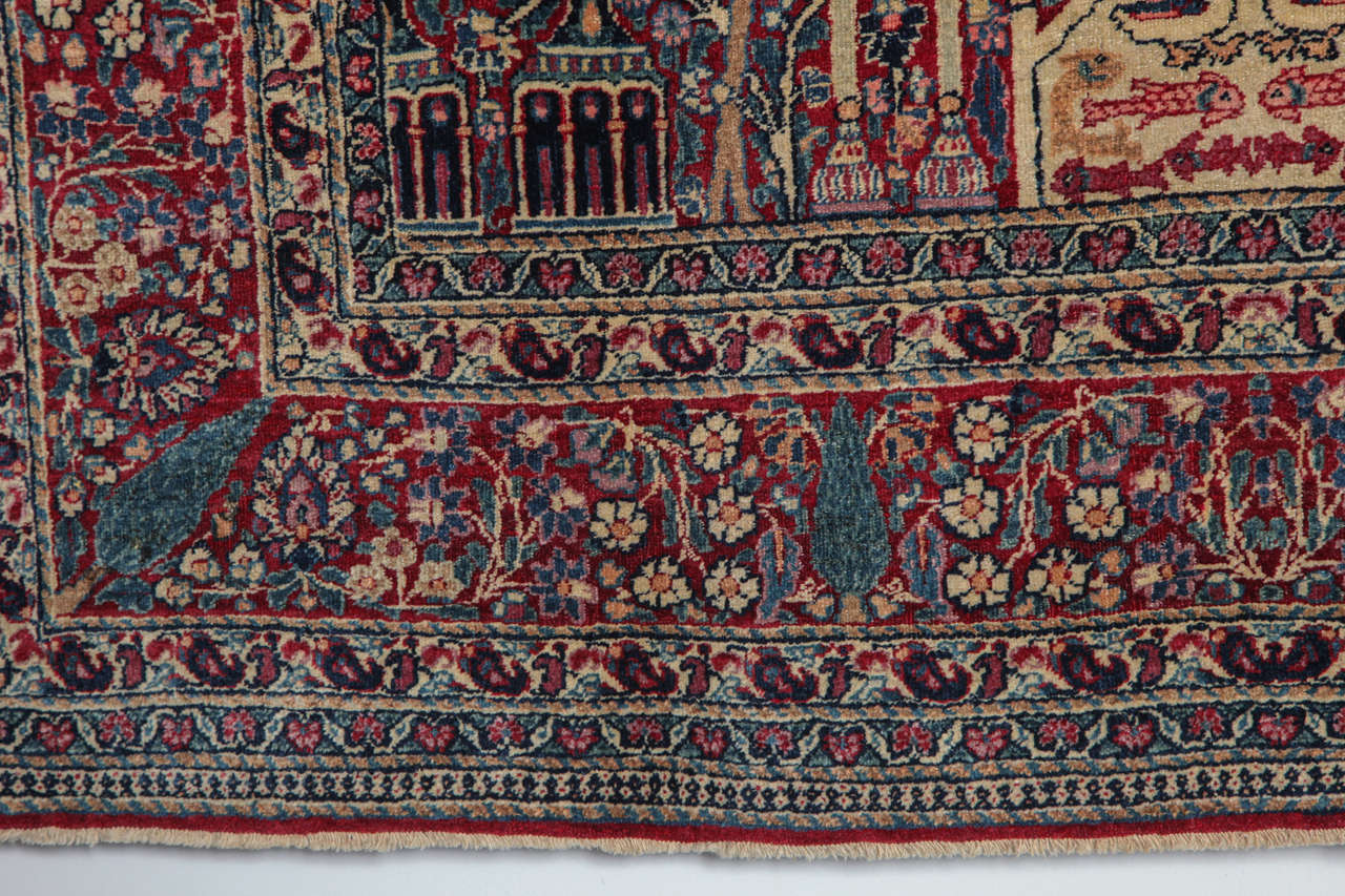 Wool Persian Tehran Carpet with Tree of Life Design, circa 1900 For Sale