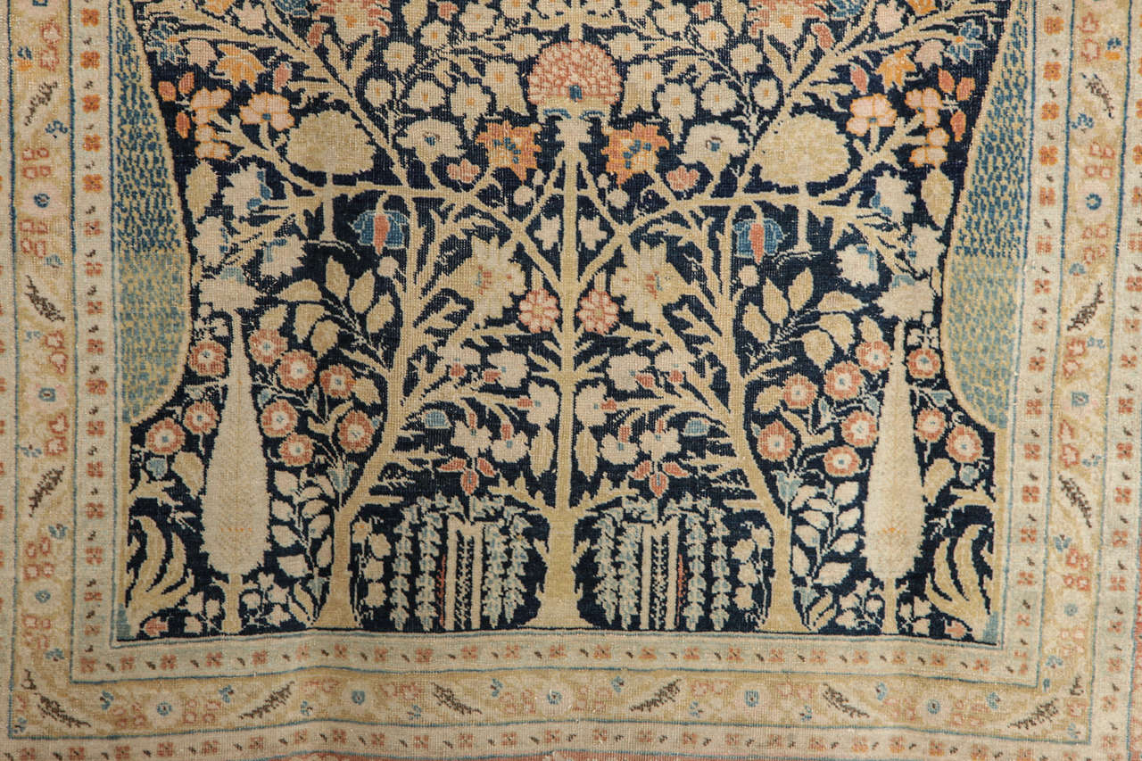 Hand-Knotted Persian Haji Jalili Tabriz Carpet with Tree of Life Design, circa 1880 For Sale