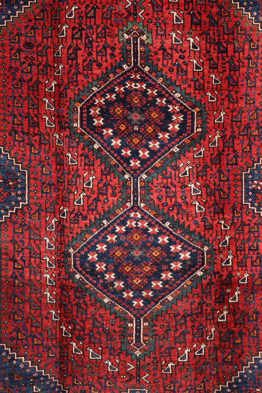 Vegetable Dyed Persian Qashqai Carpet, circa 1920 in Pure Handspun Wool and Vegetable Dyes For Sale