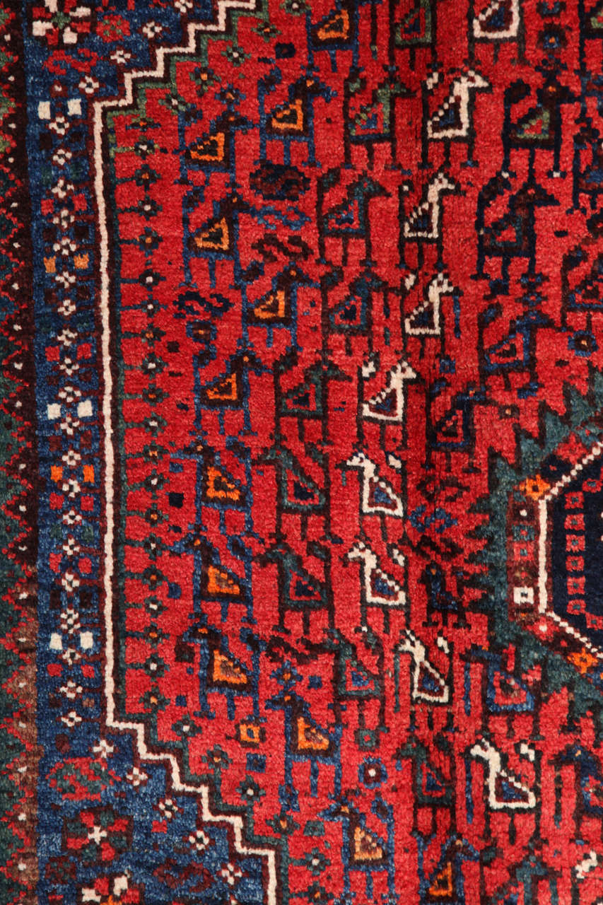 Persian Qashqai Carpet, circa 1920 in Pure Handspun Wool and Vegetable Dyes For Sale 2