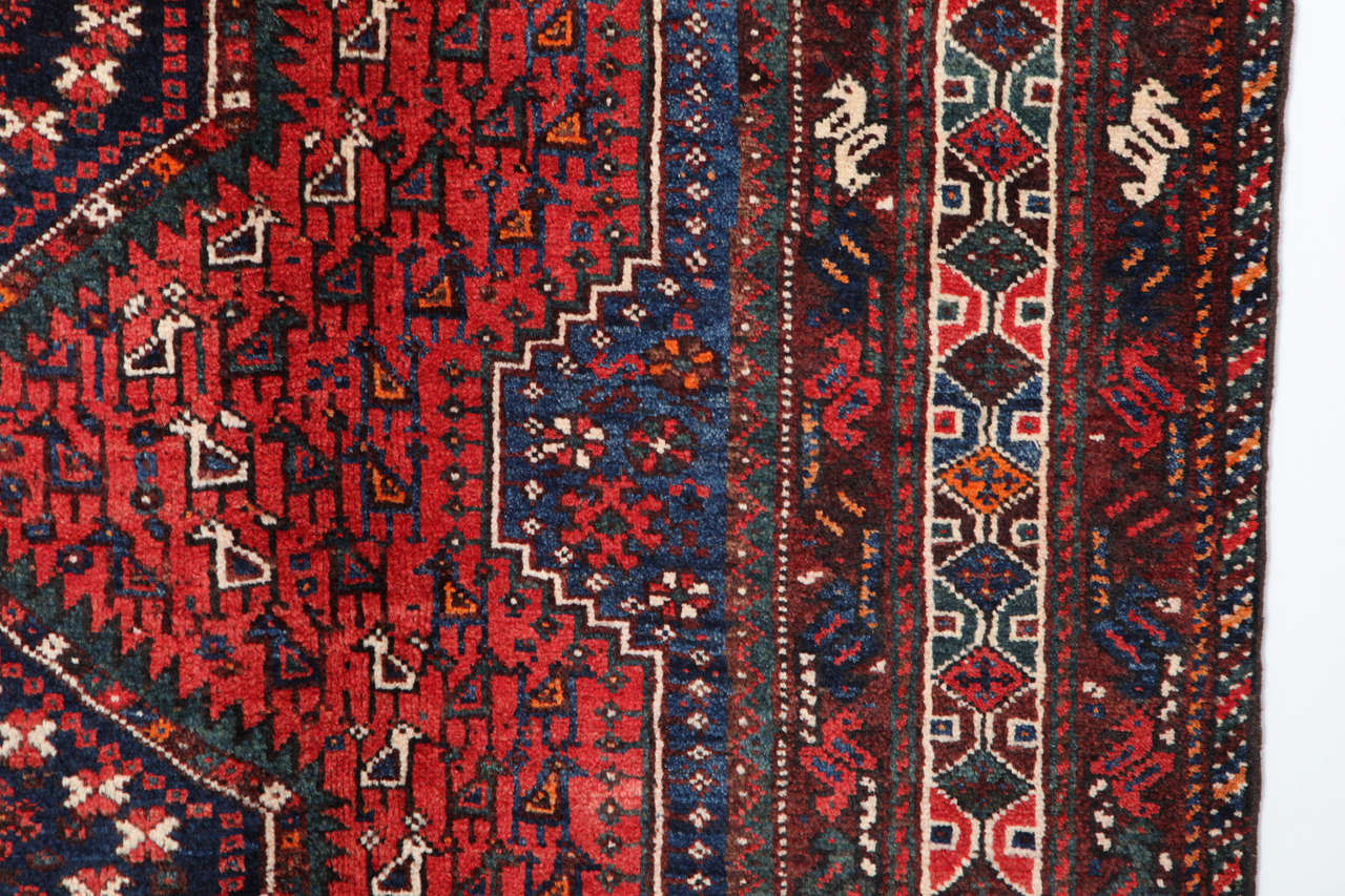 Persian Qashqai Carpet, circa 1920 in Pure Handspun Wool and Vegetable Dyes For Sale 3
