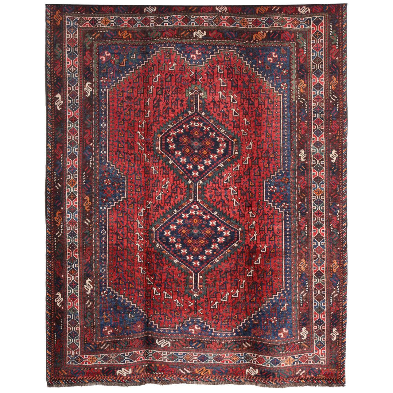 Persian Qashqai Carpet, circa 1920 in Pure Handspun Wool and Vegetable Dyes