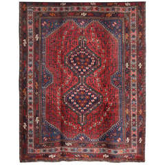 Persian Qashqai Carpet, circa 1920 in Pure Handspun Wool and Vegetable Dyes