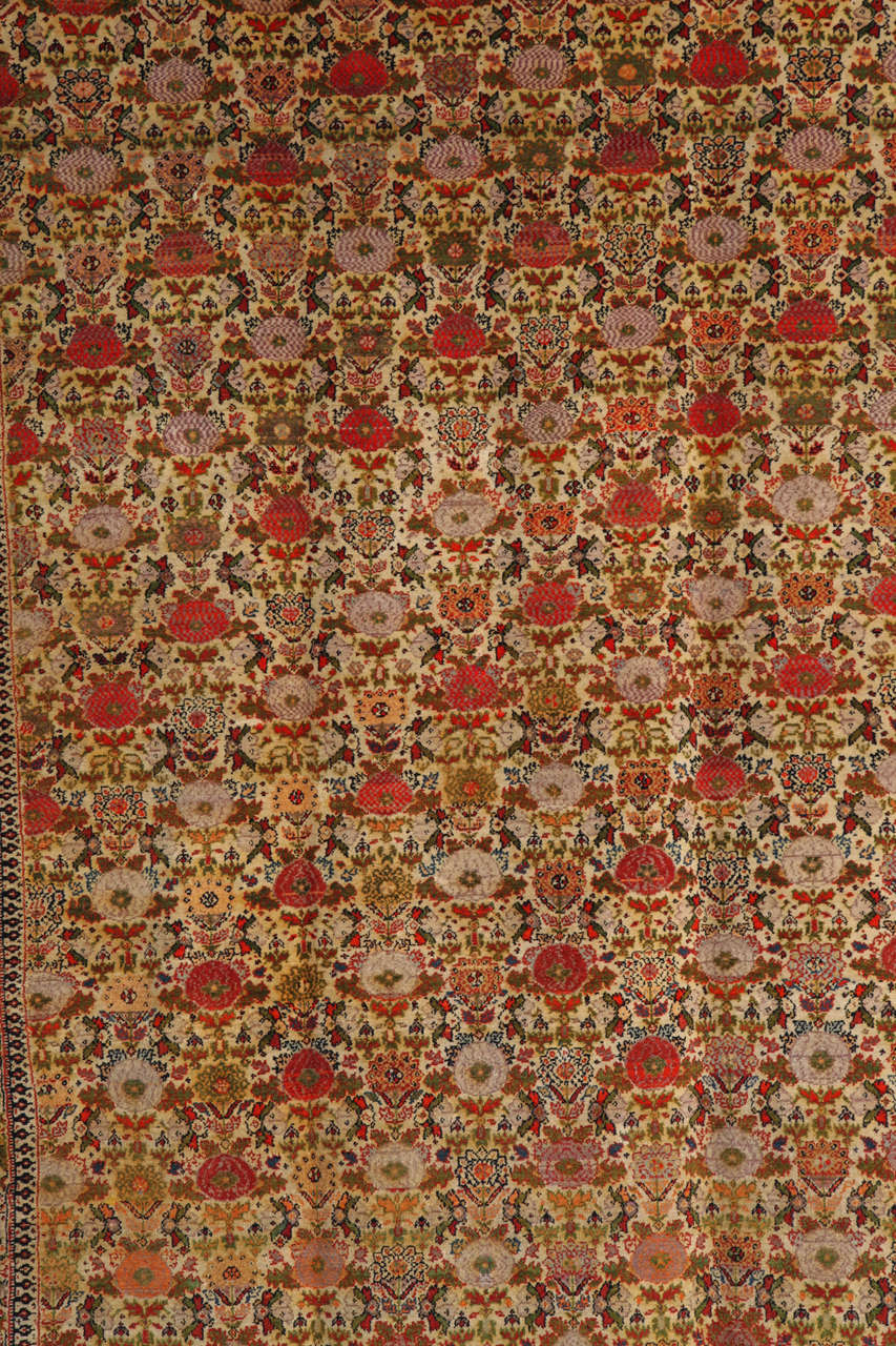 This Persian Mishan Malayer carpet created circa 1890 consists of a hand-knotted pure handspun wool pile with cotton warp and thread and natural vegetable dyes. Historically, the Mishan village is renowned for having created the finest carpets in