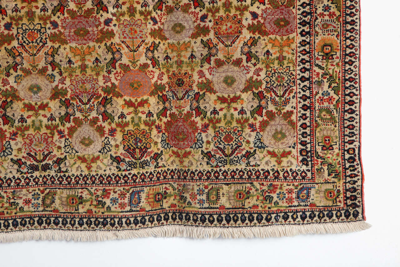 Hand-Knotted Persian Mishan Malayer Carpet with Wool Pile and Vegetable Dyes, circa 1890 For Sale